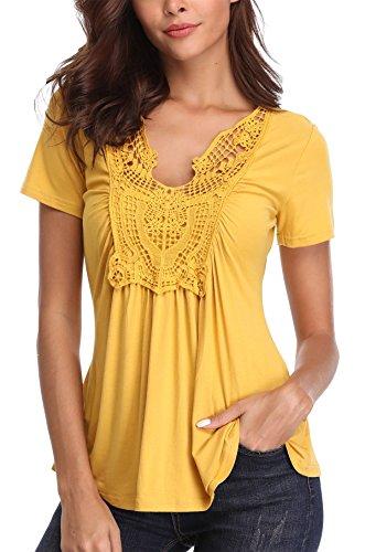 MISS MOLY Bluse Damen Elegant Kurzarm Lässige Oberteile T-Shirt Gelb Small