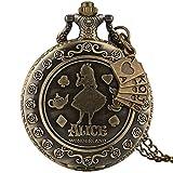 elegante orologio da tasca al quarzo in bronzo per donna, orologi da taschino squisiti con motivo a bambina per ragazze, orologio a pendaglio a catena sottile in lega resistente per adolescenti,
