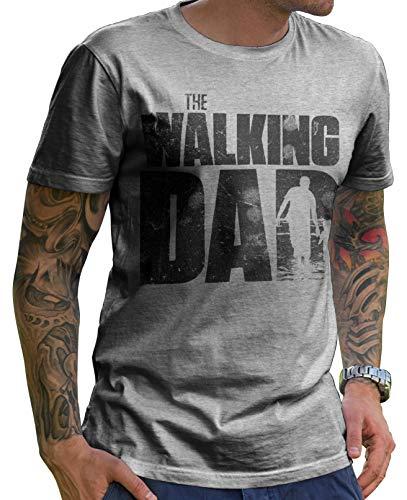 Stylotex Lustiges Herren Männer T-Shirt Basic | The Walking Dad | Geschenk für werdende Papas, Größe:L, Farbe:Heather (4100)