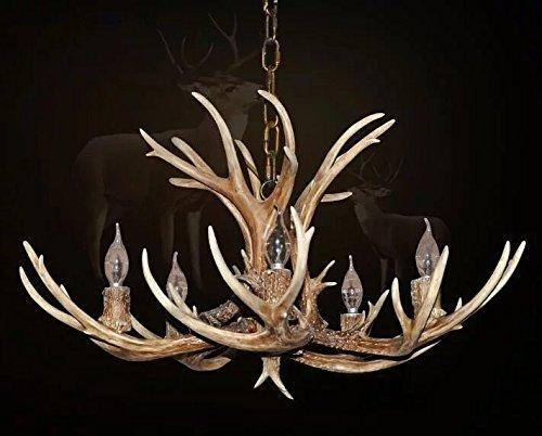 EFFORTINC Antlers vintage Style résine 5 lustres lumineux, lustres en bois rond de campagne américaine, Salon, Bar, Café, Salle à manger chandeliers cerfs cerfs