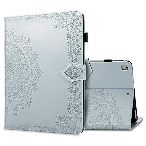 LMFULM Case for Apple iPad Air 3 2019 / iPad Pro 2017 (10.5 Inch) PU Leather Protective Shell Smart Case with Sleep/Wake Stand Case Flip Cover Holster Embossed Mandala Gray