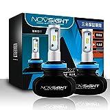 NOVSIGHT H8/H9/H11車用ledヘッドライト 50W(25Wx2) 8000LM(4000LMx2) 6500K ファンレス ホウイト 2個セット 3年保証
