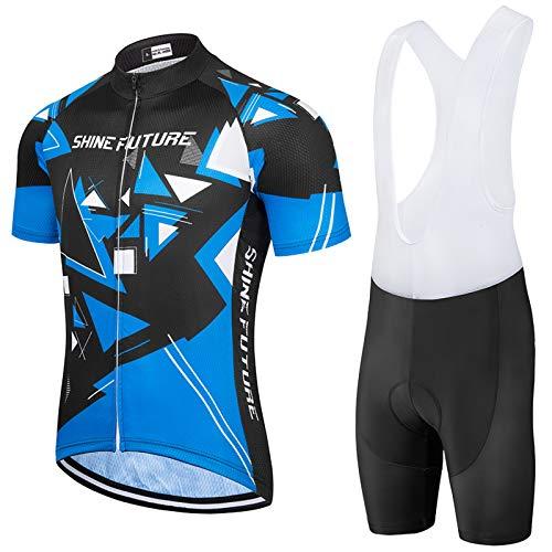 shine future Ciclismo Conjunto de Ropa Maillots de Ciclismo Hombres 3D Acolchado Gel Ropa Térmica Ciclismo Camiseta Bicicleta+Culote Ciclismo (Tipo 1, Large)