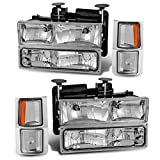 96 chevrolet silverado headlights - AUTOSAVER88 Headlight Assembly Kit Compatible with Chevy C/K Series 1500 2500 3500 / Chevy Tahoe/Chevy Suburban/Chevy Silverado Crystal Headlamp w/Corner & Bumper Chrome Housing with Clear Lens