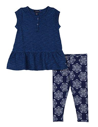 Nautica Baby Girls' Fashion Top with Legging Two Piece Set, Dark Indigo Medallion, 24 Months