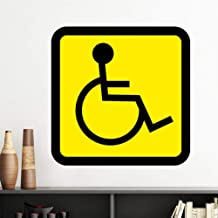 DIYthinker Warning Symbol Yellow Black Disabled Person Square Vinyl Wall Sticker Wallpaper Room Decal