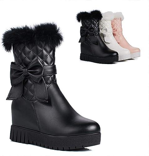 ZHRUI Stiefel para damen-Stiefel Gruesas de Invierno Stiefel para la Nieve Que Aumentan los Tubos Cortos schuhe de algodón Gruesos Stiefel de algodón 34-43 (Farbe   schwarz, tamaño   EU 40)