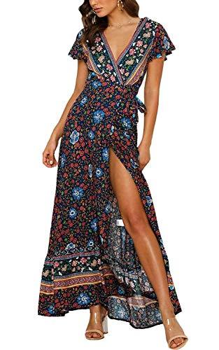 Cindeyar Kleider Boho Sommerkleid V-Ausschnitt Damen Vintage Strand Blumen Maxikleid Kurzarm Strandkleid Lang mit Schlitz(NA,l)