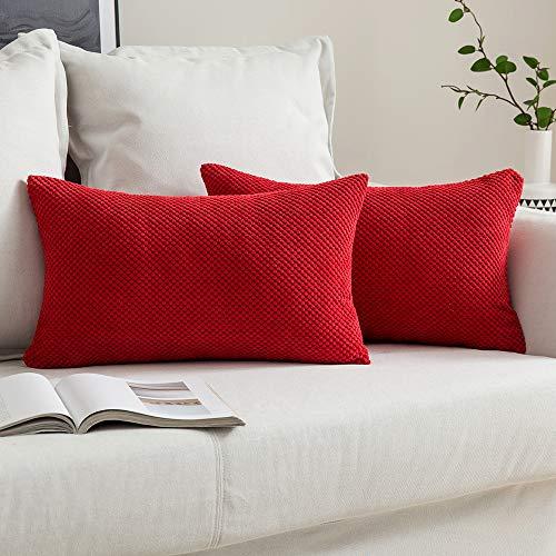MIULEE Fundas Cojines para Cama Funda de Almohada de Pana Cojin Rectangular de Sofa Color Solido Poliéster Decoracion para Habitacion Dormitorio Oficina Silla Salon Comedor 2 Pieza 30x50cm Rojo