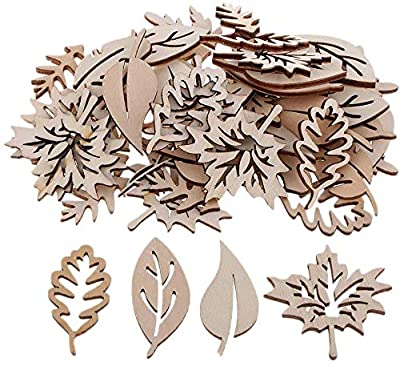 FRECI 50pcs Wooden Leaves Shapes Embellishments Ornaments Wooden Pieces Wooden Cutouts for Scrapbooking Card Making Sign Making