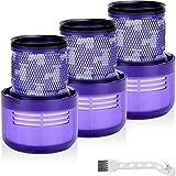 QAQGEAR Paquete de 3 filtros de vacío de repuesto para aspiradoras de varilla inalámbrica Dyson V11 SV14, en comparación con la pieza n.o 970013-02, lavables, reutilizables, con cepillo de limpieza