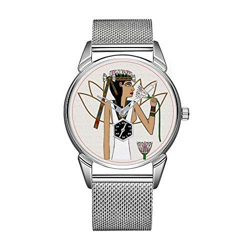 Reloj de pulsera para hombre de acero inoxidable plateado, resistente al agua, de marca superior de Lotus Dancer