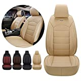 Car Front Seat Covers PU Leather for BMW 3 Series E90 E93 2008-2012 Non-Slip&Waterproof Beige