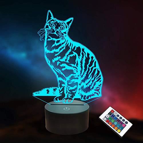 Lámpara de ilusión LED de luz nocturna de gato 3D con control remoto + 16 colores cambiantes + función de temporización + atenuación, decoración de regalos de cumpleaños para bebé niño niña