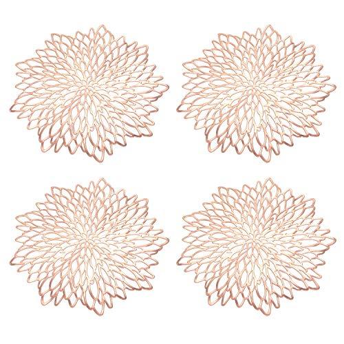 4PCS rundes Tischset, Rose Gold Hollow Insulation Tischsets und Untersetzer, Tischsets für Weihnachten Hochzeit Bankett Restaurant Hotel (15 Zoll)