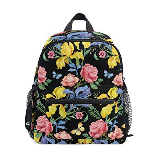CPYang, zaino per bambini con fiori e foglie di rosa e farfalle, per scuola materna, per bambini e bambine