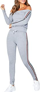 Challyhope Women Tracksuit Sexy Off Shoulder Sweatshirt+Pants Sets Sport Casual Suits