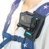 Backpack Shoulder Strap Mount Camera with Adjustable Shoulder Pad and 360 Degree Rotating Base Compatible with GoPro Hero 9/8/7/6/5/4/3+,OSMO Action, Xiaoyi 4K and Most Action Cameras