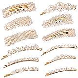 12 Pcs Pearl Large Hair Clips Pins Barrette Ties Hair for Women Girls Elegant Handmade Fashion Hair Accessories (12 pcs)