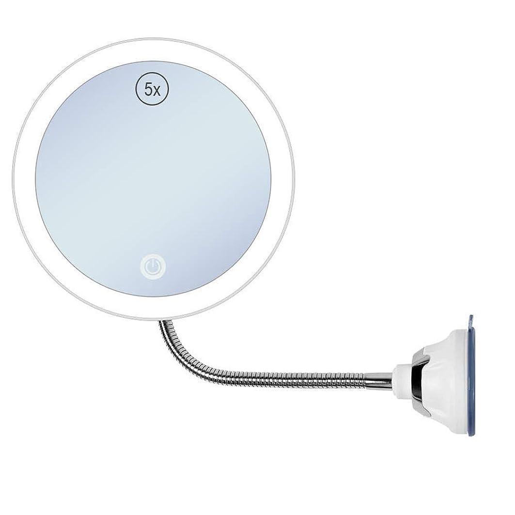 く極めてストレージ5 X拡大LED照明付きミラー照明、柔軟なグースネックと強力な吸引カップを備えた壁掛けミラー、バスルームシェービング化粧鏡、家庭旅行用ポータブル 化粧鏡