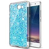 Carcasa Huawei Y5II, funda Huawei Y5II, Huawei Y5II Case, ikasus®–Carcasa Huawei Y5II silicona funda funda teléfono protectora TPU con modelo de diamante brillante lentejuelas Bling brillante di