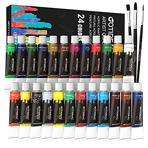 GOTIDEAL Acrylic Paint Brush Set, 24 Colors/Tubes(12ml, 0.41 oz) Non Toxic,Rich Pigments for Artist, Hobby Painters, Beginners, Student & Kids, Ideal for Canvas Wood Clay Fabric Ceramic Craft Supplies