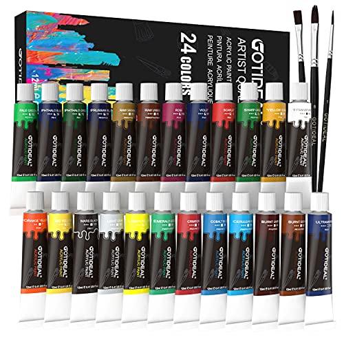 GOTIDEAL Acrylic Paint Brush Set, 24 Colors/Tubes(12ml, 0.41 oz) Non Toxic,Rich...