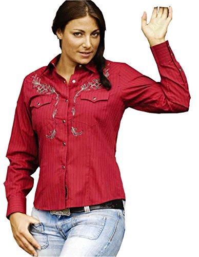 STARS & STRIPES Streifenbluse Bonnie - Westernwear-Shop Edition Damen Westernhemd Westernkleidung Westernshirt Westernoberteil Westernoutfit für Frauen (X-Large) Rot