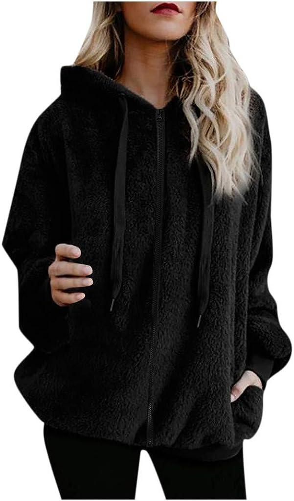 iQKA Womens Girls Hooded Sweatshirt Plus Size Winter Warm Coat Faux Wool Zipper Jacket Outwear with Drawstring S-5XL