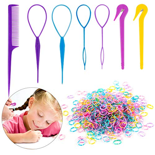 79STYLE 1000pcs Small Elastic Hair Bands 2pcs Mini Rubber Bands Remover Pony Pick cutter 4pcs Topsy Hair Tail Tools Girls French Braiding Tool Loop Ponytail Maker Hair Styling Accessories (muti-color blue)