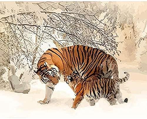 NC88 Pintura al óleo Digital DIY Animal DIY Pintura por números Tigres Imagen de Arte Estilo Moderno Lienzo Decorativo Arte de la Pared Pintura al óleo para la decoración