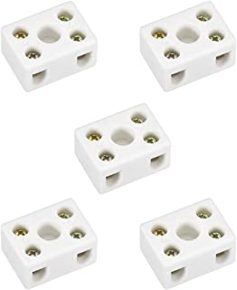 uxcell 3 Way Ceramics Terminal Blocks High Temp Porcelain Ceramic Connectors 31x20x14mm for Electrical Wire Cable 5 Pcs