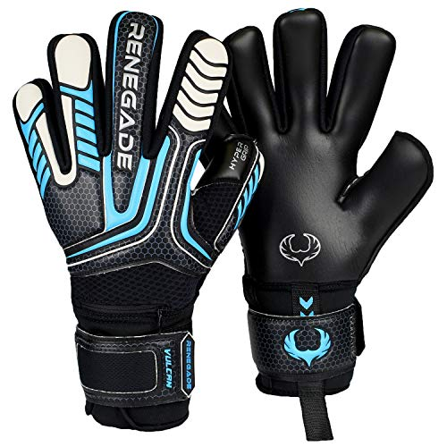 Renegade GK Vulcan Trident Goalie Gloves with Pro-Tek Fingersaves | 3.5+3mm Hyper Grip & 4mm Duratek | Black & Blue Goal Keeper Gloves (Size 10, Adult, Mens, Negative Cut, Level 3)