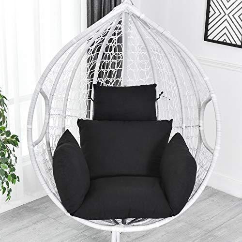 Chaise en rotin N /A, coussin de hamac, coussin de hamac, coussin de chaise suspendu, coussin épais pour intérieur extérieur, terrasse, jardin, plage, bureau, bleu, Noir