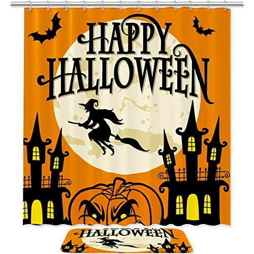 Juego de 2 cortinas de ducha y esteras Happy Halloween Witch de 70 pulgadas, tela impermeable cortina de baño y alfombra juego con ganchos