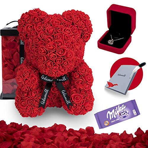 Rosen Teddybär 40cm mit geschenkbox, einzigartiges geschenk für frauen, freundin, kinder - Exklusiver Rosenbär zum Muttertag, Geburstag & Jahrestag - Blumen Teddy Bär voller rosenblätter (5 in 1) Rot