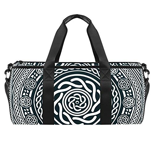 Anna Cowper Abstract Black and White Celtic Mandala Duffel Shoulder Carry Bag Canvas Travel Bag for Gym Sports Dance Travel Weekender