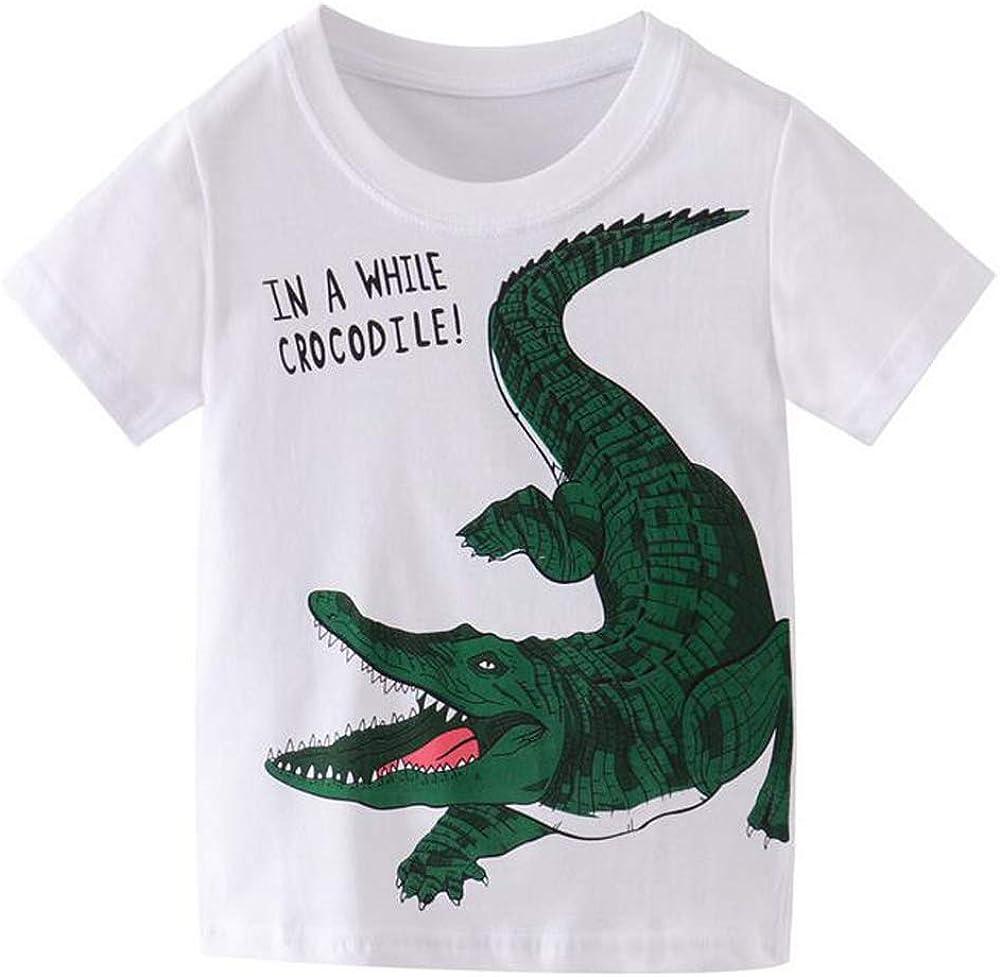Mengmeng Cartoon Crocodiles Dinosaur Tee 100% Cotton Baby Boy Short Sleeve T-Shirt