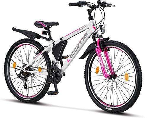 Licorne Bike Guide (Weiß/Rosa) 26 Zoll Mountainbike,Shimano 21 Gang-Schaltung,Gabelfederung,Kinderfahrrad,Jungen-Mädchen-Fahrrad