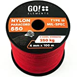 GO!elements 100m Paracord de Nylon a Prueba de desgarros - 4mm Paracord 550 Typo III Cuerda - Adecuado como Cuerda Yute & Cuerda Gruesa | MAX. 250kg, Color:Rojo