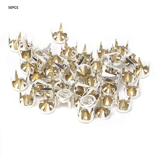 50 Set Plata/Oro Base DIY Moda Rhinestone Garra Beads Espárragos Clavos Punky Diamante Espigas Remaches para DIY Cuero-Artesanía(6 mm de plata)