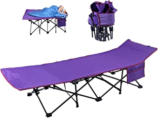 Single Folding Bed Frame,Office Nap Bed Outdoor Folding Sheets Portable Camping Bed Leisure with Storage Bag, Purple, 191 * 50 * 37Cm