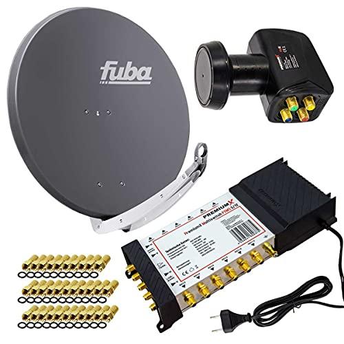 PremiumX Satelliten-Komplettanlage Fuba DAA 850 A Satellitenschüssel Alu Anthrazit 5/12 Multischalter Quattro LNB 32x F-Stecker, 1 SAT 12 Teilnehmer