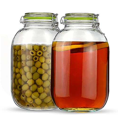 Glass Jars with Airtight Lids, Qianfenie 2 Pack - 1 Gallon Wide Mouth Mason Jars with Hinged Lids for Fermenting, Canning, Preserving - Storage Jar with 2 Replacement Silicone Gaskets