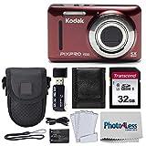 Kodak PIXPRO FZ53 16.15MP Digital Camera (Red) + Black Point & Shoot Case + Transcend 32GB UHS-I U1 SD Memory Card & More!