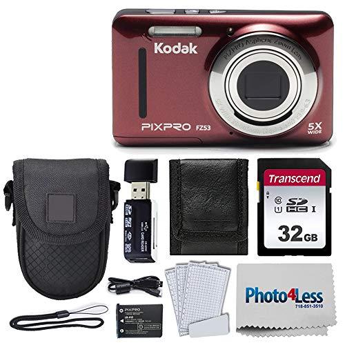Kodak PIXPRO FZ53 16.15MP Digital Camera (Red) + Black Point & Shoot Case + Transcend 32GB UHS-I U1 SD Memory Card…