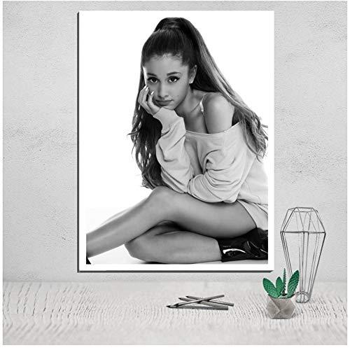 """YangMENGDAN druk op canvas Ariana Grande canvas schilderij canvas poster gezichtsbeschildering camera direct print foto afdruk muurkunst giclée pop decoratief 15.7""""x 23.6""""(40x60cm) Geen lijst1"""
