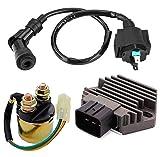 Voltage Regulator Rectifier,Starter Solenoid Relay and Ignition Coil for Honda 350 TRX350FE TRX350FM TRX350TE TRX350TM TRX450 TRX450ES Fourtrax Rancher 2000 2001 2002 2003 2004 2005 2006(3 Pcs)