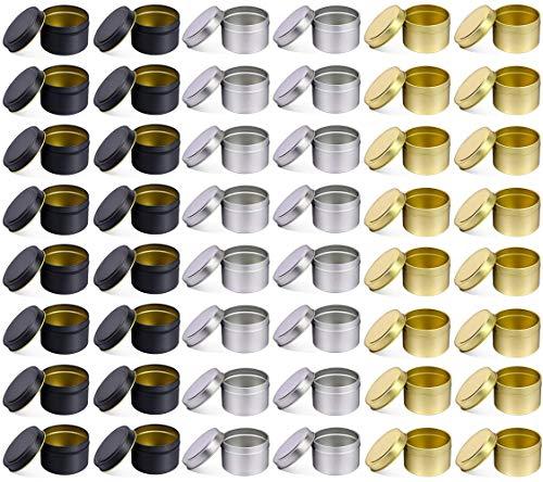 48 PCS 8 OZ latas con tapas decorativas de Metal redondo vela frascos a granel reutilizable vela contenedores de bricolaje arte manualidades suministros (5OZ,16PCS Black+16PCS Silver+16PCS Gold)