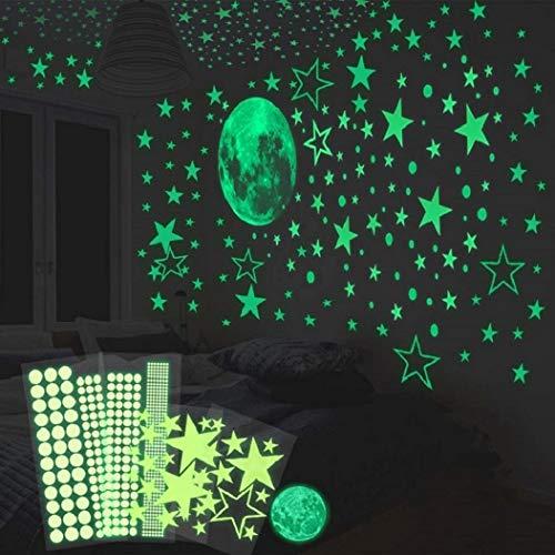 HOMMINI Leuchtsticker Wandtattoo wandsticker kinderzimmer selbstklebend 435/Leuchtpunkte selbstklebend und 30cm Mond Wandsticker für Sternenhimmel-leuchtsterne und fluoreszierend Leuchtaufkleber